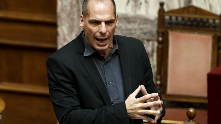 Greek Finance Minister Varoufakis answers a question during a parliamentary session in Athens