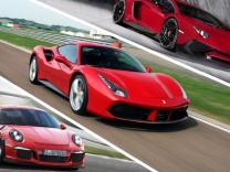 Porsche 911 GT3 RS, Ferrari 488 GTB und Lamborghini Aventador SV LP750-4