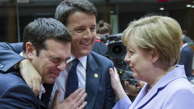 Greek Prime Minister Alexis Tsipras Italian Prime Minister Matteo Renzi and German Chancellor Angela Merkel attend a European Union leaders summit in Brussels