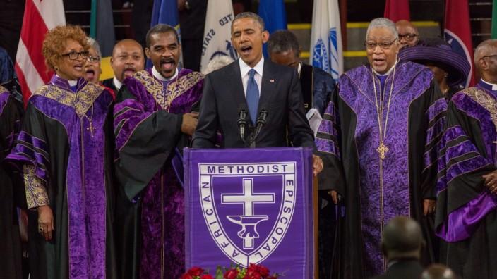 President Barack Obama at Funeral for Charleston Nine Massacre Vi