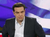 Greek Prime Minister Alexis Tsipras gives an interview to Greece'