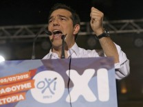 Greek Prime Minister Alexis Tsipras delivers a speech at an anti-austerity rally in Athens