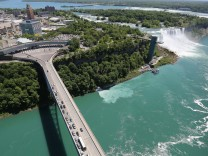 Aerials of U.S.-Canada Border Along The Niagara River; Niagara Falls