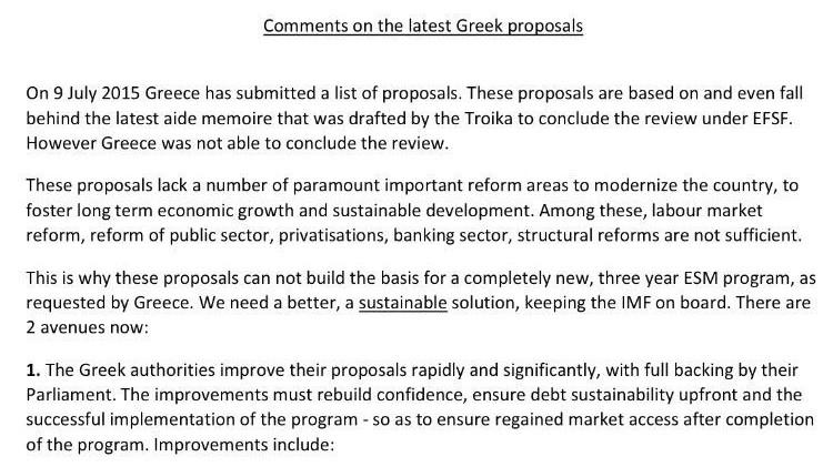 Positionspapier Griechenland-Krise