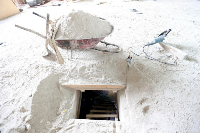 The entrance of a tunnel connected to the Altiplano Federal Penitentiary and used by drug lord Guzman to escape, is seen in Almoloya de Juarez