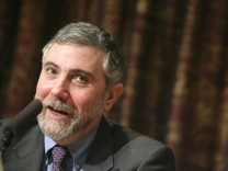 Nobel Prize in Economics laureate Paul Krugman attends a news conference in Stockholm