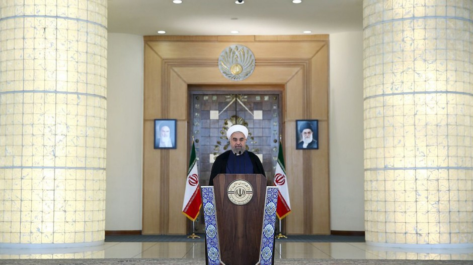 Iran's President Hassan Rouhani delivers a speech to the nation in Tehran