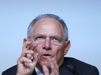 German Finance Minister Schaeuble speaks during a Bundesbank banking congress in Frankfurt
