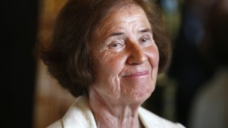 Nazi hunter Beate Klarsfeld reacts after being awarded by German ambassador to France at her residence in Paris