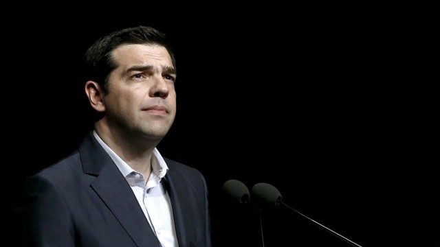 File photo of Greek PM Tsipras looking on during his speech at the annual conference of the Hellenic Federation of Enterprises in Athens