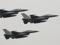 Turkish F16 jet fighters fly in formation in Istanbul