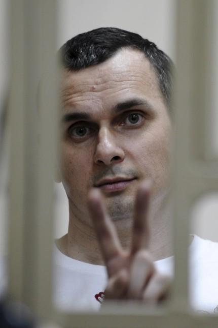 Ukrainian film director Sentsov attends a court hearing in Rostov-on-Don