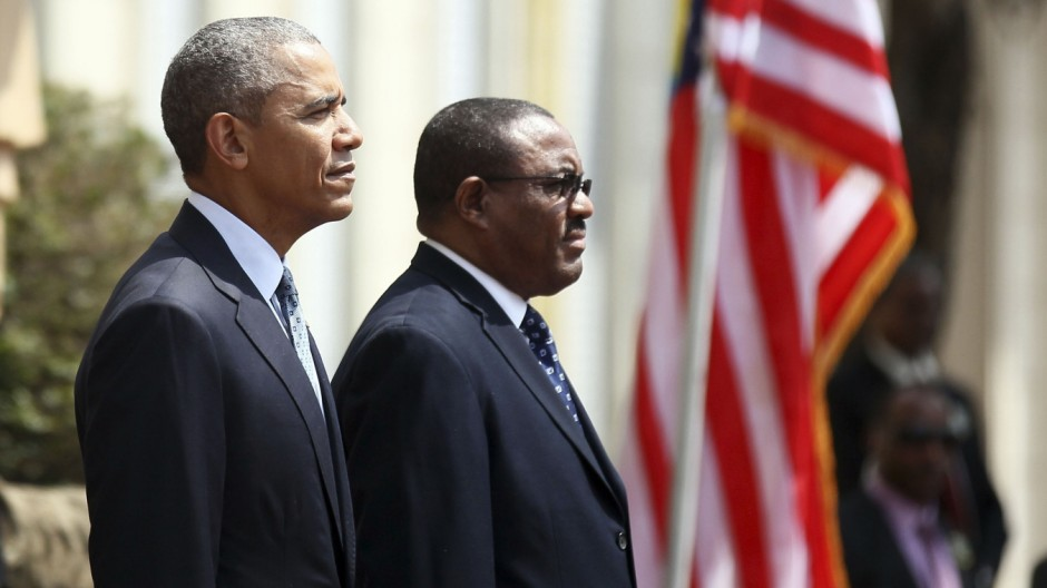 U.S. President Barack Obama takes part in a welcome ceremony with Ethiopia's Prime Minister Hailemariam Desalegn at the National Palace in Addis Ababa, Ethiopia