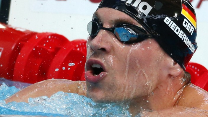 Biedermann of Germany reacts after men's 200m freestyle heat during Aquatics World Championships in Kazan