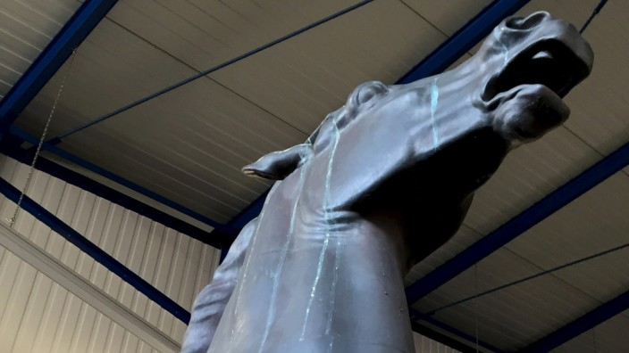 One of two recovered bronze sculptures made for Adolf Hitler's Reich Chancellery that have been missing for years are stored in a police compound in the western German town of Bad Bergzabern