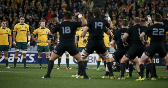 New Zealand's All Blacks rugby team performs the Haka before their Bledisloe Cup rugby match against Australia's Wallabies in Sydney