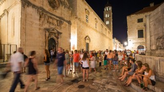 Dubrovnik at night 27 07 2015 Dubrovnik Croatia Stradun at town is full of tourists during nigh