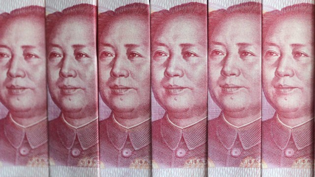 Picture illustration taken in Beijing shows Chinese 100 yuan banknotes