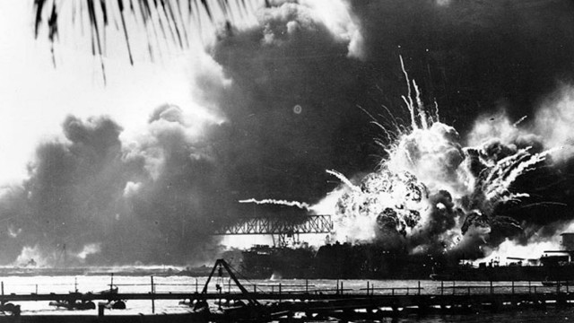 USS SHAW EXPLODES AT PEARL HARBOR IN 1941