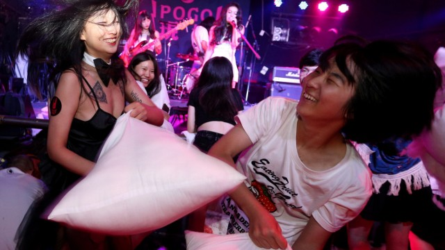Pillow fight in Beijing