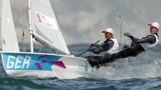 Germany's Ferdinand Gerz and Patrick Follmann sail during the fifth race of the men's 470 sailing class at the London 2012 Olympic Games