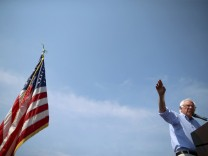 U.S. Democratic presidential candidate Bernie Sanders speaks during a campaign stop in Eldridge