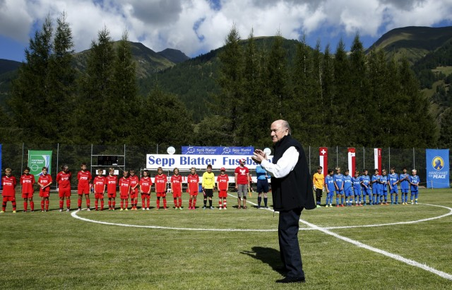 Blatter arrives for the first game of the so-called 'Sepp Blatter tournament' in Ulrichen