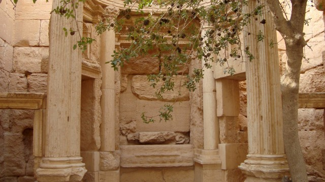 A view shows part of the interior of the temple of Baal Shamin in the historical city of Palmyra, Syria