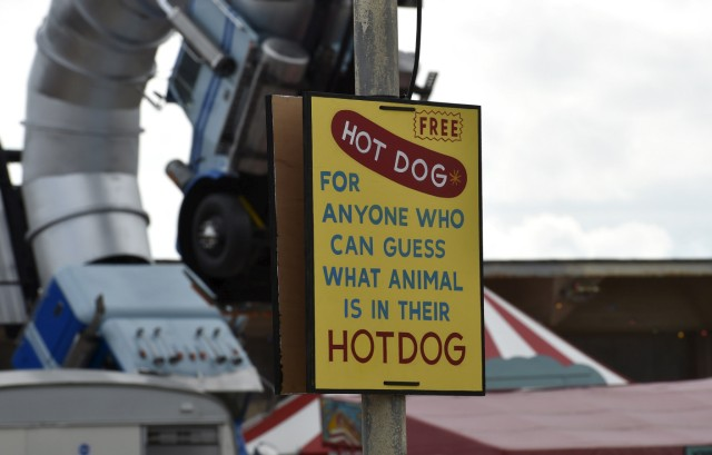 A sign is pictured at 'Dismaland', a theme park-styled art installation by British artist Banksy, at Weston-Super-Mare in southwest England