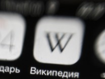NOVOSIBIRSK RUSSIA AUGUST 24 2015 The Wikipedia app installed on a smartphone Russia s internet