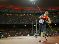 Molitor of Germany competes in the women's javelin throw final during the 15th IAAF World Championships at the National Stadium in Beijing