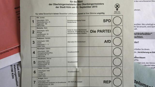 Stimmzettel für die OB-Wahl in Köln