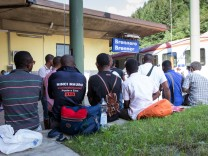 Refugees and asylum seekers at Brenner railway station