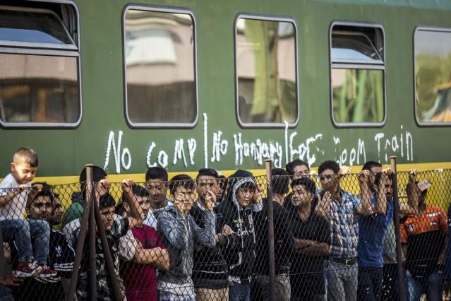 Migrants stuck at Bicske railway station