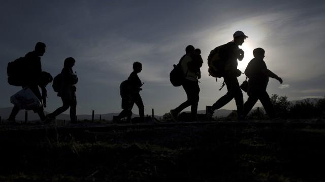 Group of migrants make their way after crossing the Macedonian-Greek border near Gevgelija