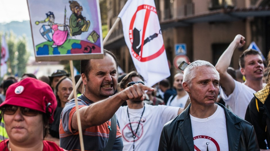 Flüchtlingsgegner in Prag