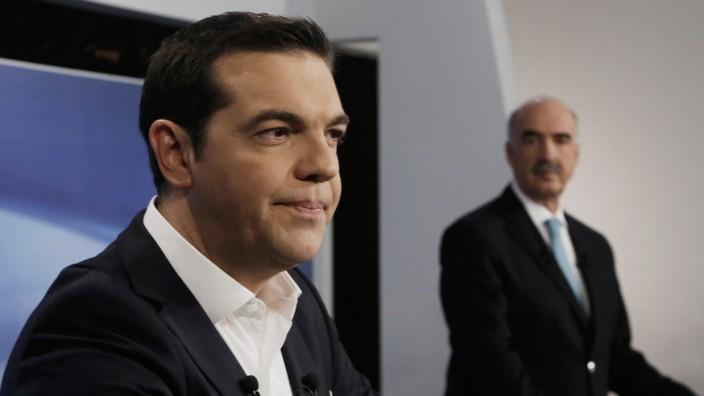 Alexis Tsipras und Evangelos Meimarakis bei einer Fernsehdebatte 2015