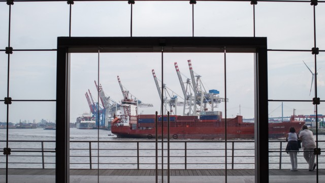 Commercial Shipping Operations At The Port Of Hamburg Ahead Of German GDP