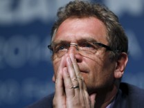 File photo of FIFA General Secretary Valcke listening to a question during an announcement on the status of Curitiba as a host city for the 2014 World Cup, in Florianopolis