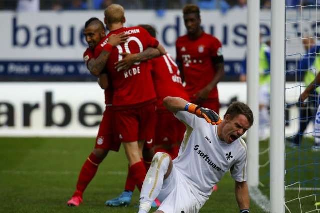 Darmstadt 98 Mathenia reacts after failing to save a goal scored by Bayern Munich's Rode during their German first division Bundesliga soccer match in Darmstadt