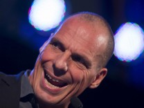 Former Greek Finance Minister Yanis Varoufakis speaks at meeting organised by the People's Assembly in London, Britain