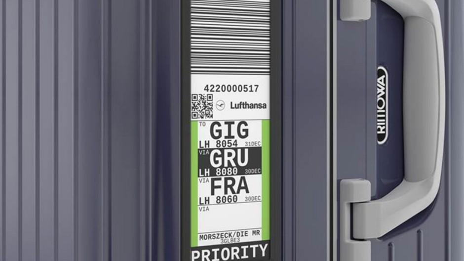 Lufthansa: Elektronischer Chip statt Gepäckanhänger aus Papier