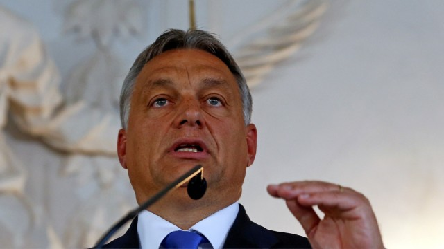 Hungarian PM Orban addresses a news conference after his speech at a CSU party event in Kloster Banz