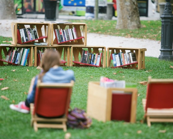 150824 LJUBLJANA Aug 24 2015 Bookshelves are seen in an open air library in Zvezda park i