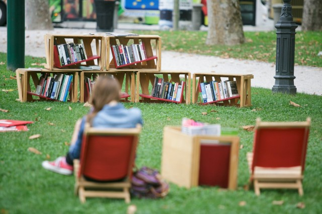 150824 LJUBLJANA Aug 24 2015 Bookshelves are seen in an open air library in Zvezda park i