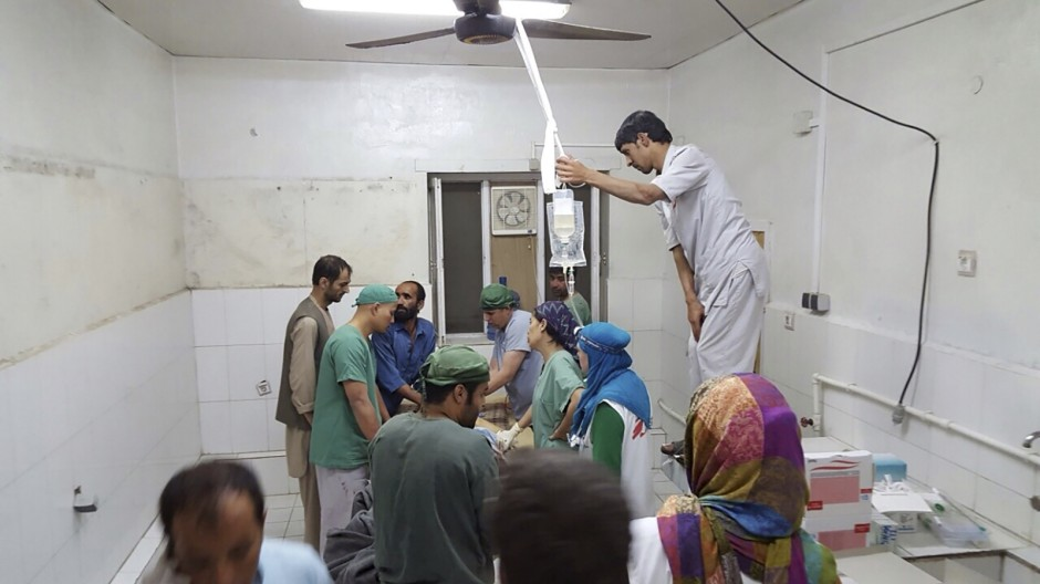 Afghan (MSF) surgeons work inside a Medecins Sans Frontieres (MSF) hospital after an air strike in the city of Kunduz, Afghanistan