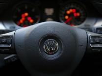 The steering wheel of a Volkswagen Passat TDI diesel is seen in central London