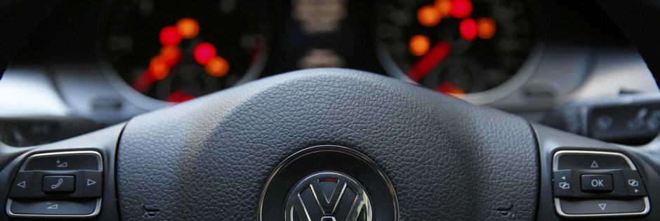 The steering wheel of a Volkswagen Passat TDI diesel is seen in central London