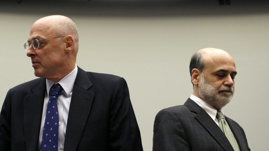 Paulson and Bernanke arrive to testify on Capitol Hill in Washington
