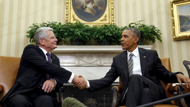 U.S. President Barack Obama meets German President Joachim Gauck in the Oval Office of the White House in Washington